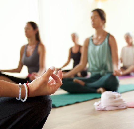 Yoga class in Surrey, England